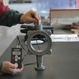 Butterfly valve body ultrasonic wall thickness test