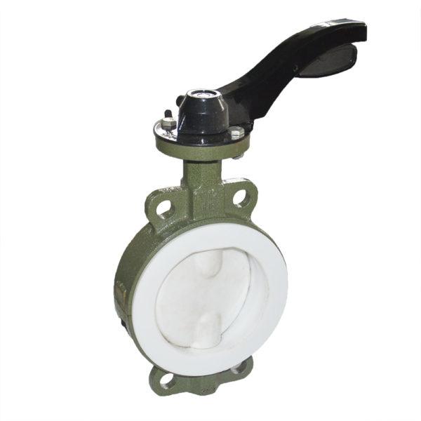 Lined wafer butterfly valve