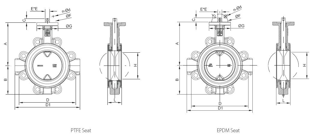 Lined lug butterfly valve size