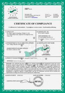 butterfly valve certificate ce