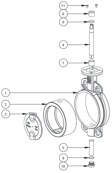 butterfly valve exploded view