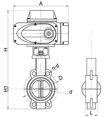 electric butterfly valve size