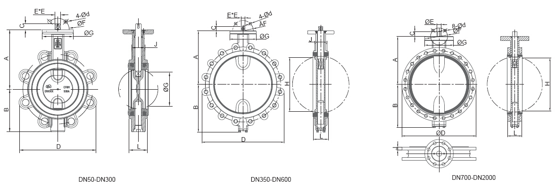 lug butterfly valve size